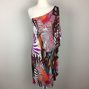 Abi Ferrin Multi Color Abstract One Shoulder Dress